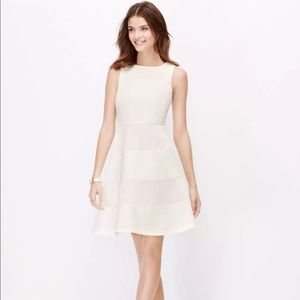 Ann Taylor Tall White Mesh Crepe Flare Dress 0T